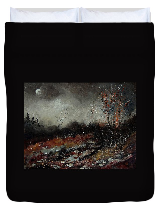 Landscape Duvet Cover featuring the painting Moonshine 459001 by Pol Ledent