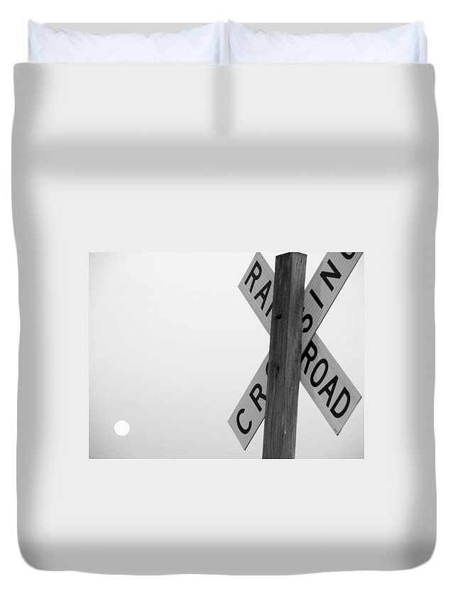 Crossing Duvet Cover featuring the photograph Moonshine Crossing by Ed Smith
