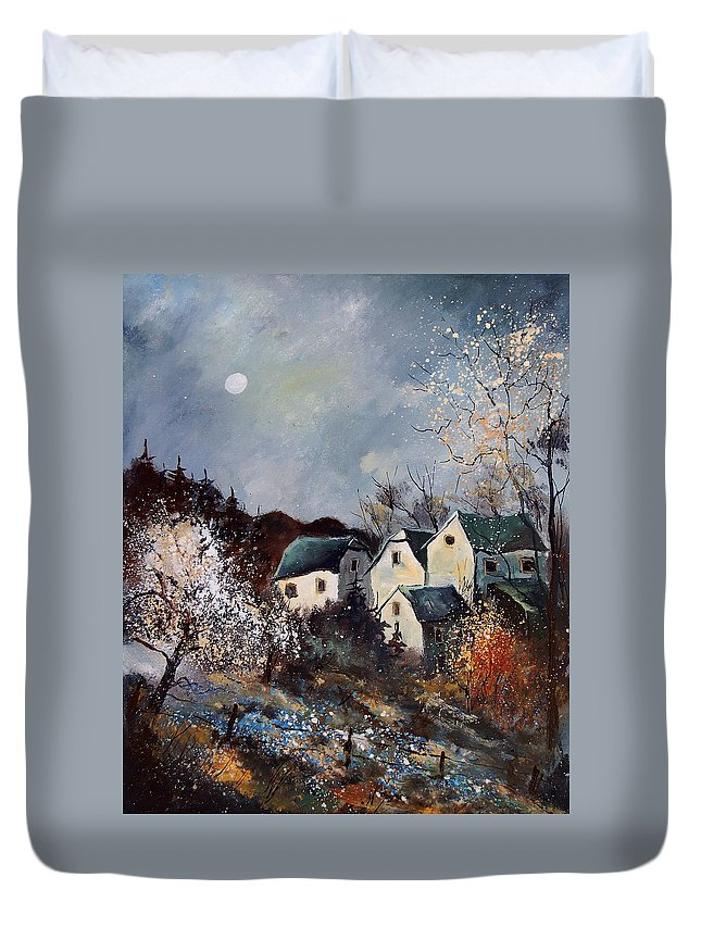 Village Duvet Cover featuring the painting Moonshine by Pol Ledent