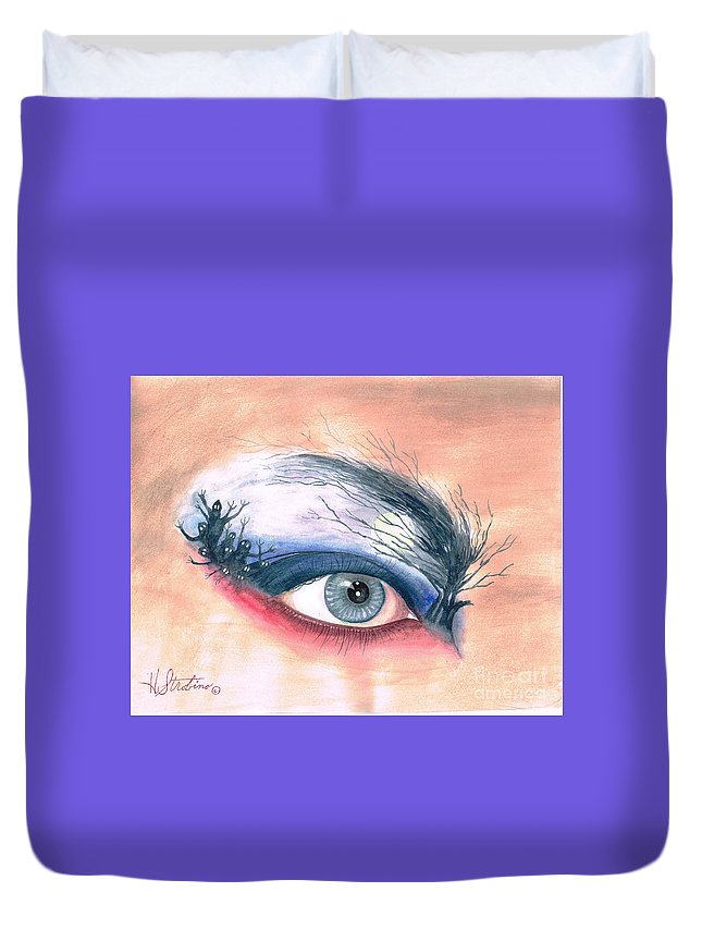 Eye Duvet Cover featuring the painting Moonstruck T-shirt by Herb Strobino