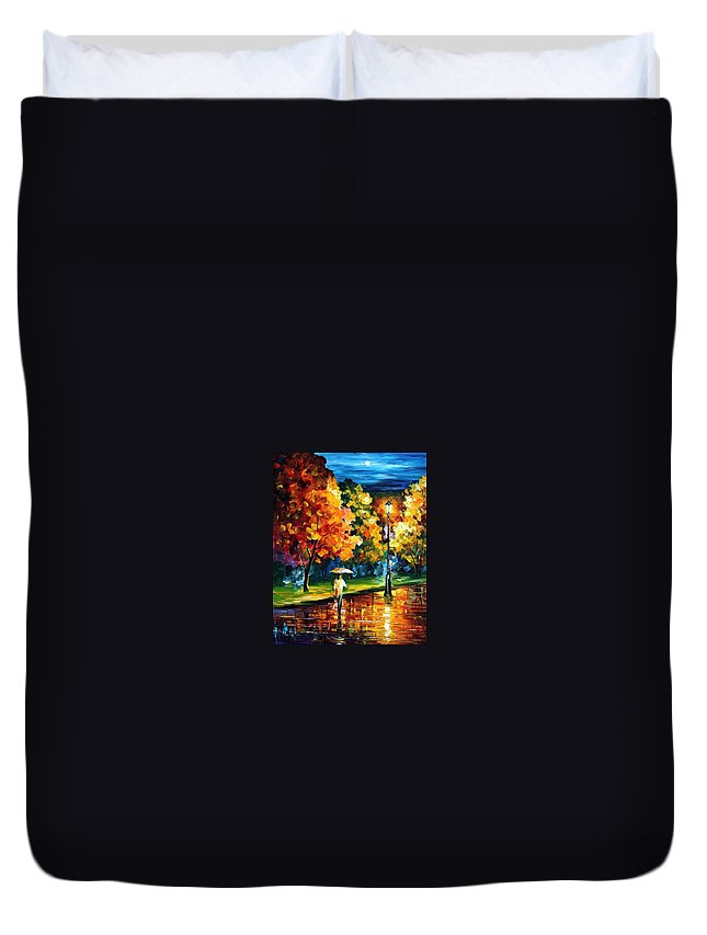Afremov Duvet Cover featuring the painting Moony Night by Leonid Afremov