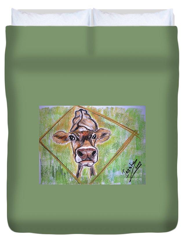 Animals Duvet Cover featuring the drawing Moooo by Irisha Golovnina