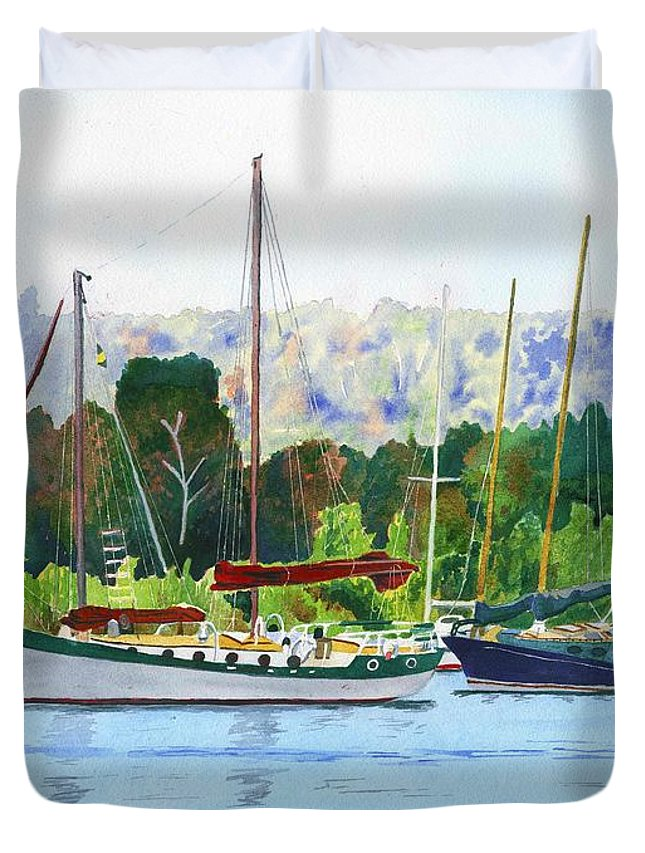 Ketch Duvet Cover featuring the painting Moored Ketch by LeAnne Sowa