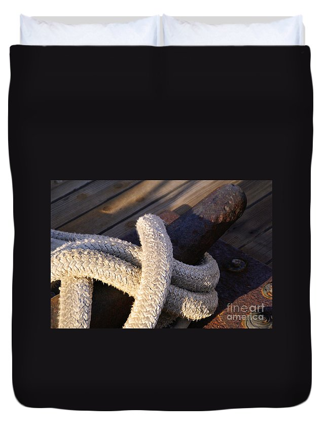 Mooring Rope Duvet Cover featuring the photograph Mooring Rope by Linda Shafer