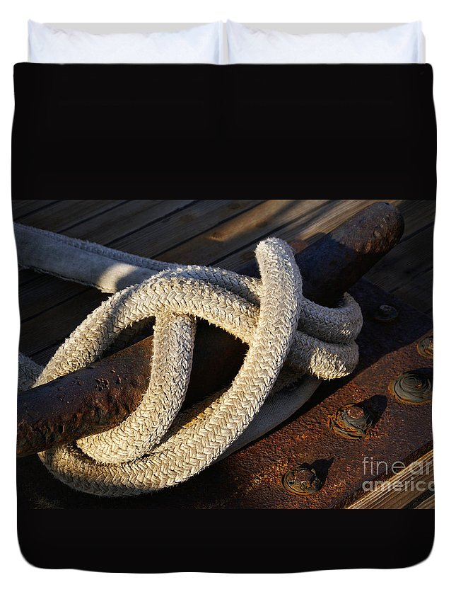 Maritime Duvet Cover featuring the photograph Mooring Rope Made Fast by Linda Shafer