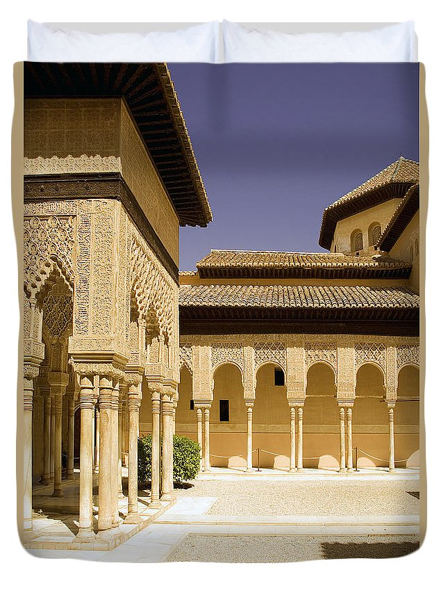 Moorish Duvet Cover featuring the photograph Moorish Architecture In The Nasrid Palaces At The Alhambra Granada by Mal Bray