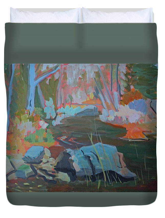 Landscape Duvet Cover featuring the painting Moose Lips Brook by Francine Frank