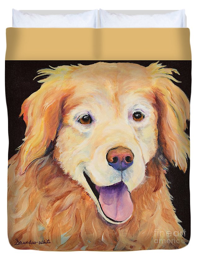 Pet Portraits Duvet Cover featuring the painting Moose by Pat Saunders-White