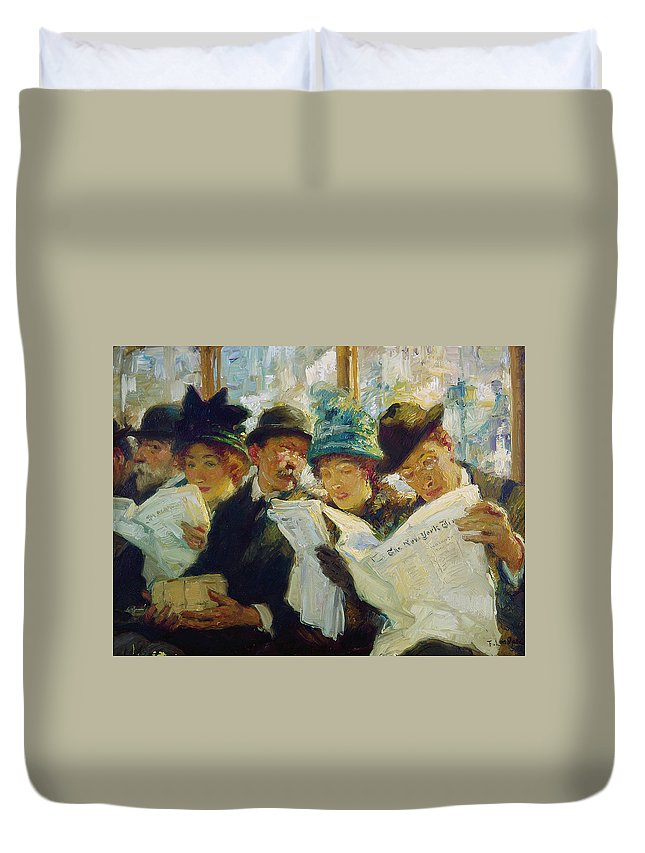 1912 Duvet Cover featuring the painting Mora Morning News C1912 by Granger