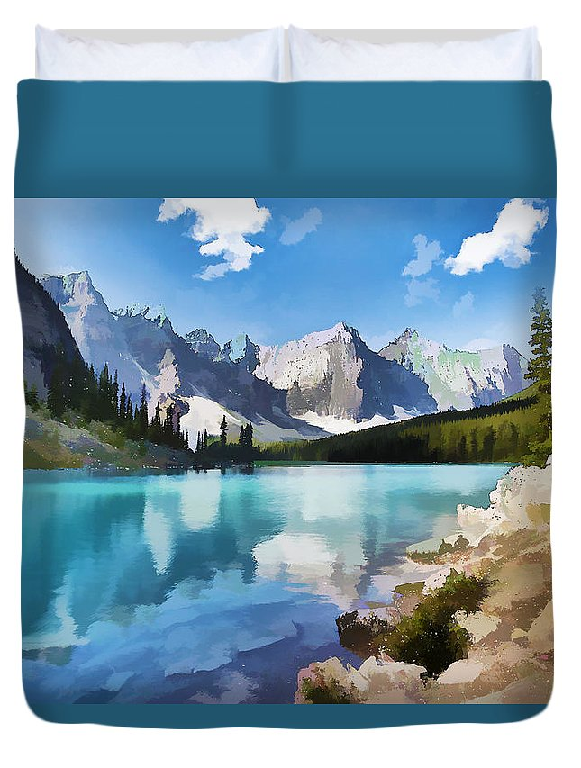 Park Duvet Cover featuring the painting Moraine Lake At Banff National Park by Jeelan Clark