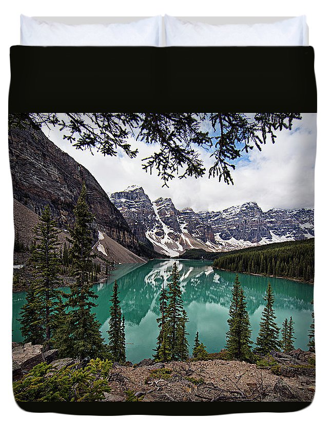 Moraine Lake Duvet Cover featuring the photograph Moraine Lake by Joe Paul
