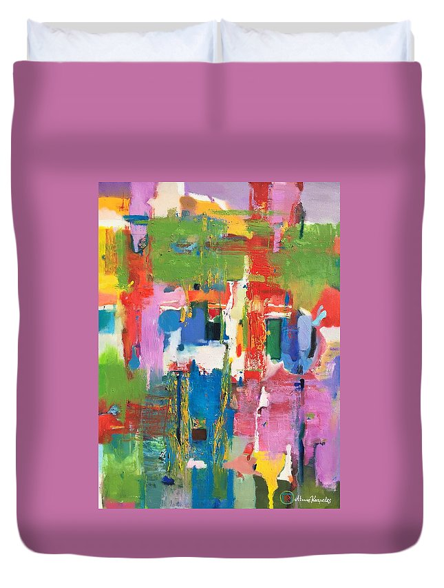 Abstract Duvet Cover featuring the painting Morava by Atanas Karpeles