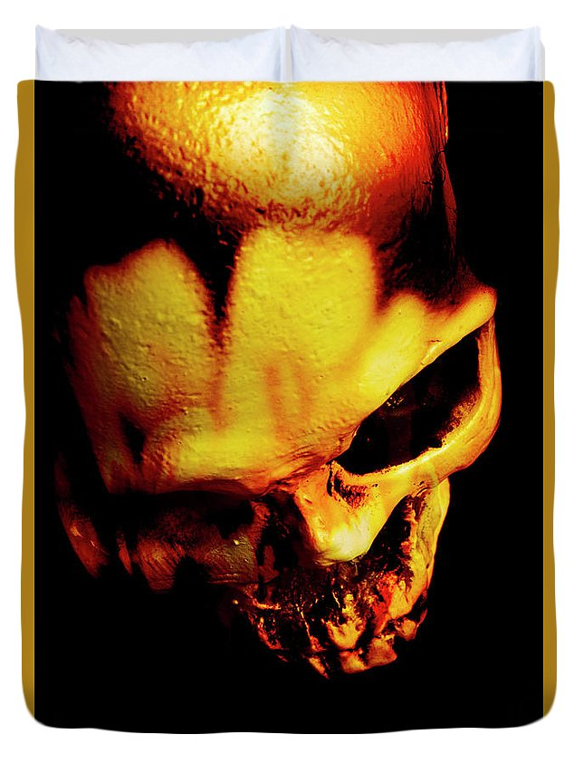 Horror Duvet Cover featuring the photograph Morbid Decaying Skull by Jorgo Photography - Wall Art Gallery