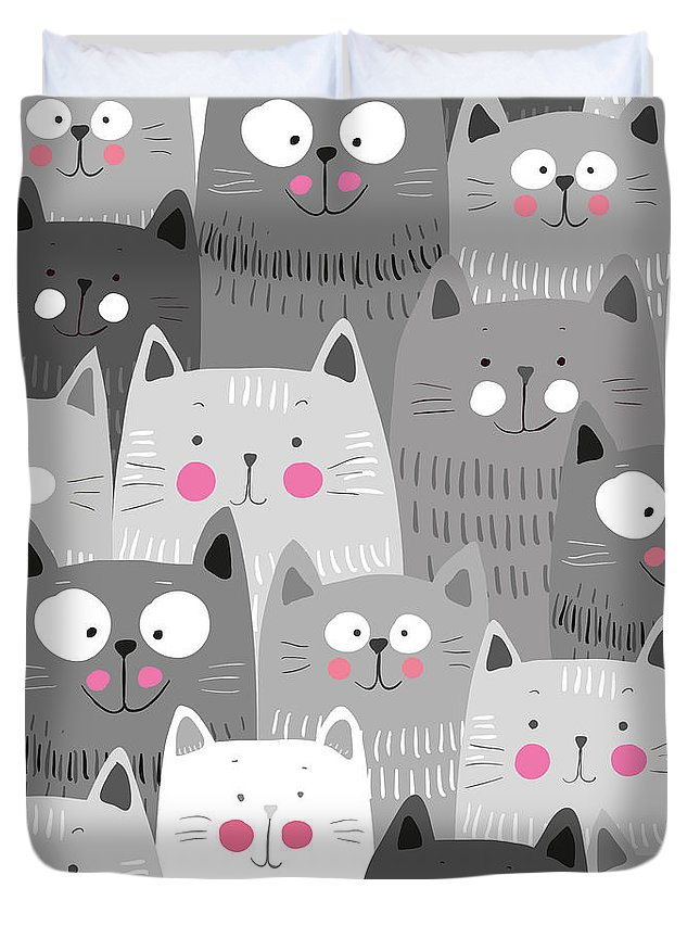More Duvet Cover featuring the digital art More Cats by Unknown