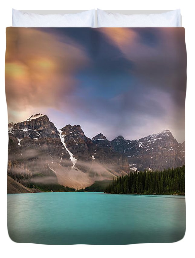 America Duvet Cover featuring the photograph More Rain At Moraine Lake by William Freebilly photography