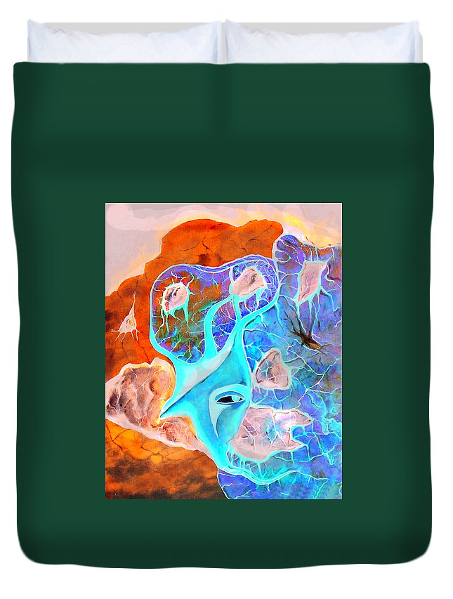 Surrealism Color Sky Haven Stones Duvet Cover featuring the painting More Seconds In My Head by Veronica Jackson