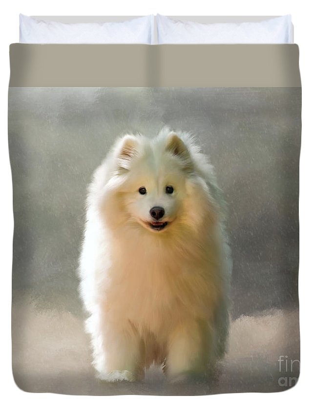 Samoyed Duvet Cover featuring the digital art More Snow Please by Lois Bryan