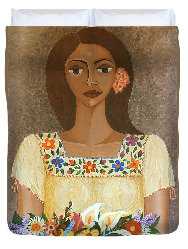 Oil Duvet Cover featuring the painting More Than Flowers She Sold Illusions by Madalena Lobao-Tello