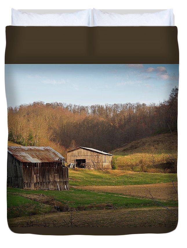 Kentucky Duvet Cover featuring the photograph Morgan County Farm Valey by Douglas Barnett