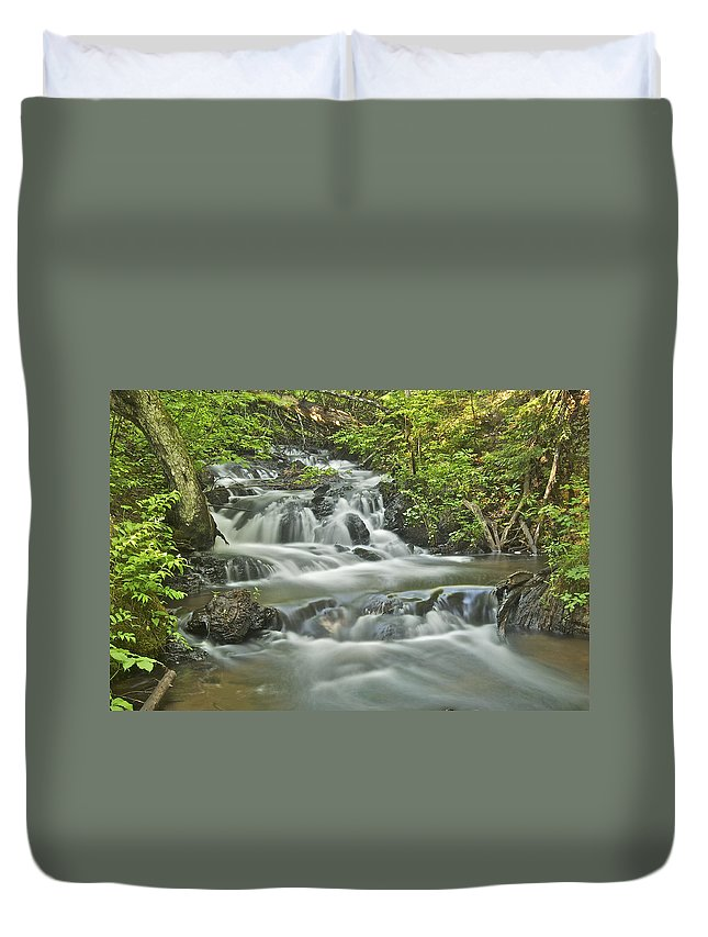 Morgan Falls Duvet Cover featuring the photograph Morgan Falls 4584 by Michael Peychich