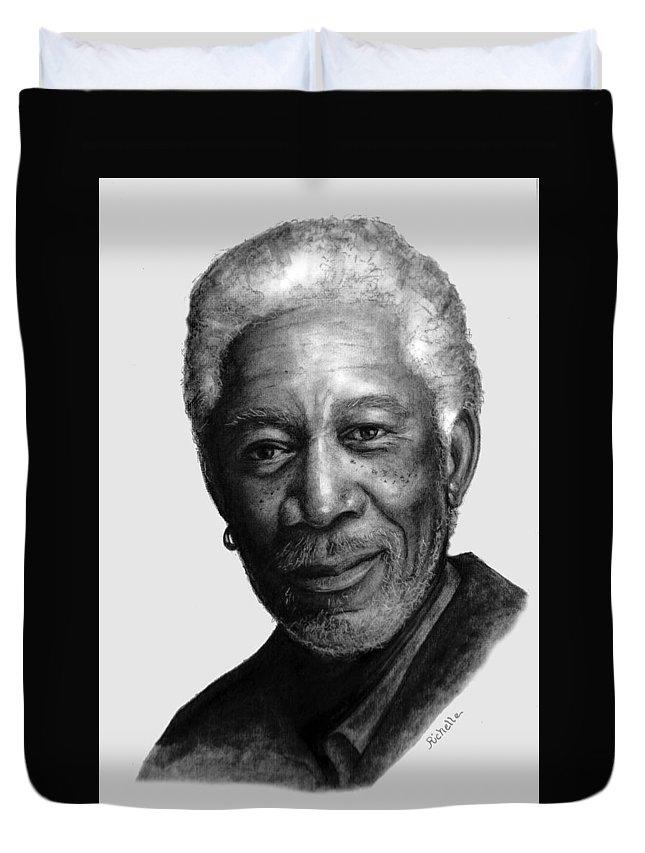 Morgan Freeman Duvet Cover featuring the painting Morgan Freeman Charcoal Portrait by Richelle Siska
