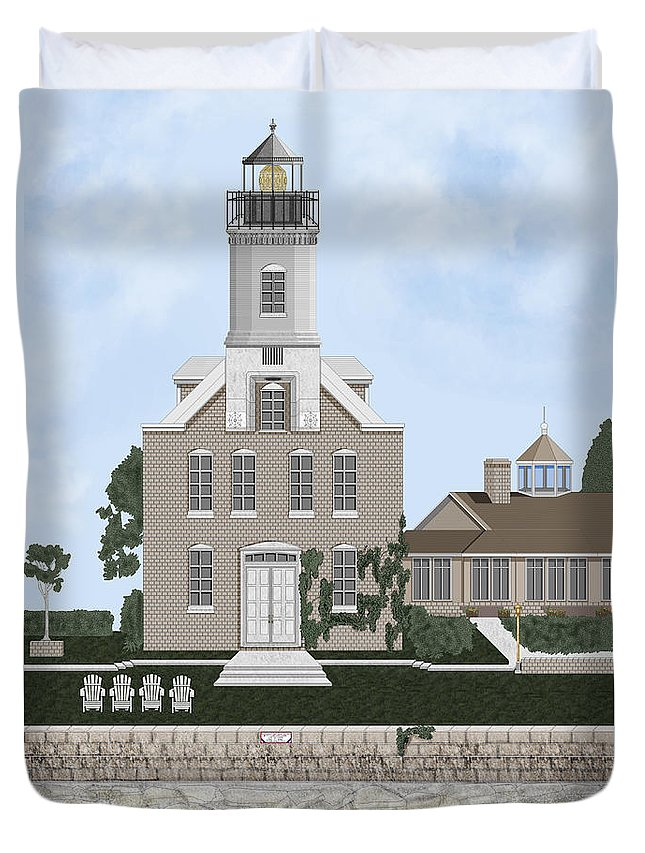 Lighthouse Duvet Cover featuring the painting Morgan Point Mystic Harbor Conn by Anne Norskog