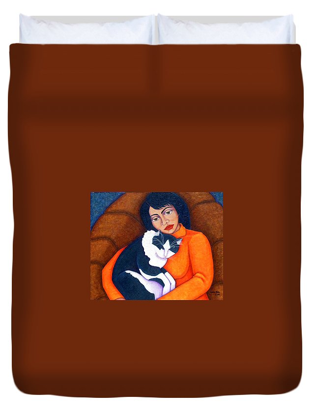 Woman Duvet Cover featuring the painting Morgana With Woman by Madalena Lobao-Tello