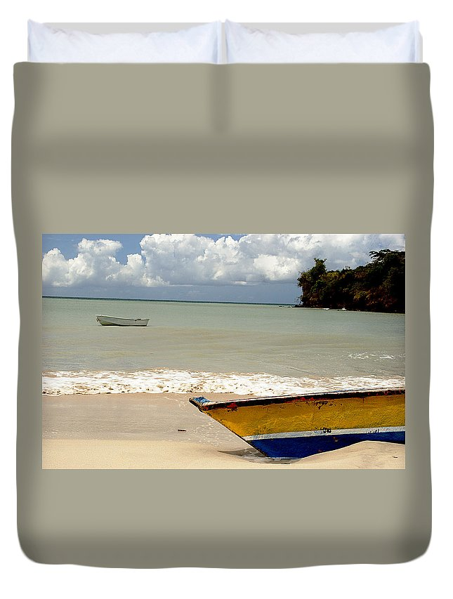 Boat Duvet Cover featuring the photograph Morne Rouge Boats by Jean Macaluso