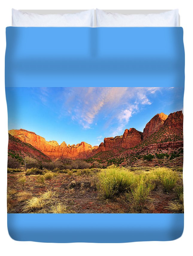 Morning Above Virgin Duvet Cover featuring the photograph Morning Above Virgin by Chad Dutson