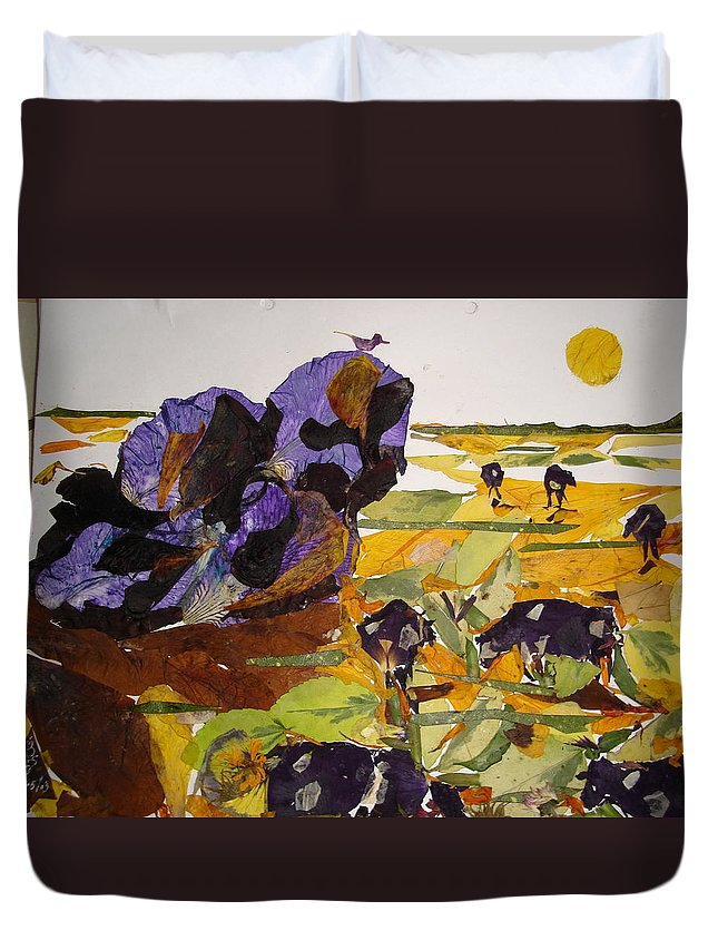 Glory Of Morning Duvet Cover featuring the mixed media Morning Activities by Basant Soni