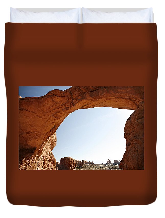 Arch Duvet Cover featuring the photograph Morning Arch by Marilyn Hunt