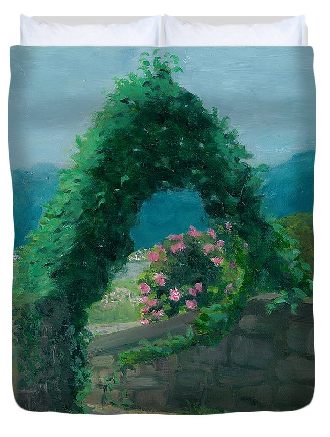 Landscape Duvet Cover featuring the painting Morning At Harkness Park by Paula Emery