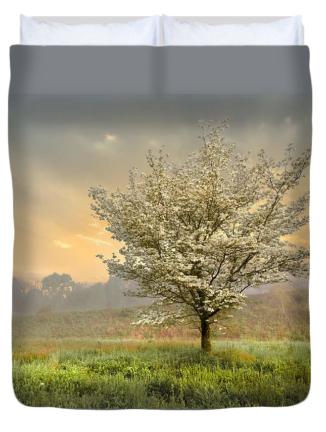 Clouds Duvet Cover featuring the photograph Morning Celebration by Debra and Dave Vanderlaan