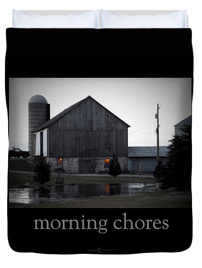 Poster Duvet Cover featuring the photograph Morning Chores by Tim Nyberg