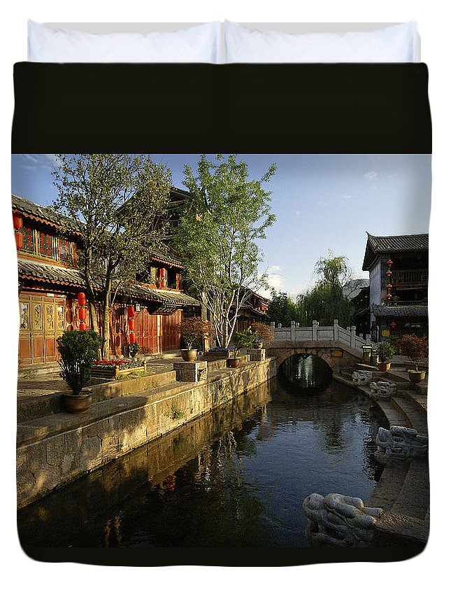 Asia Duvet Cover featuring the photograph Morning Comes to Lijiang Ancient Town by Michele Burgess