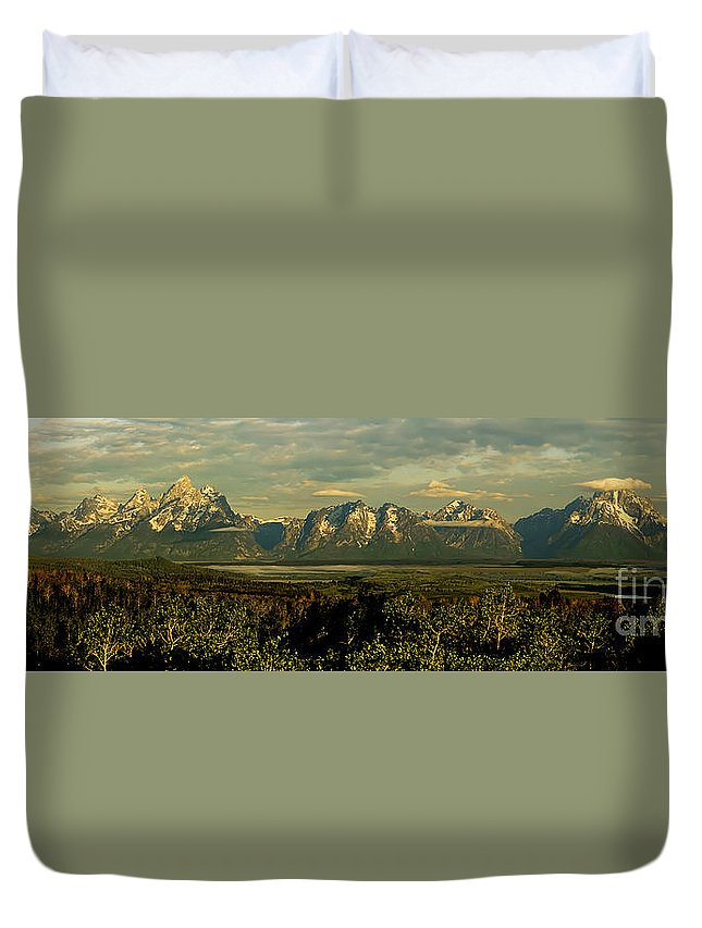 Tetons Duvet Cover featuring the photograph Morning Dawns On The Tetons by Tress Chapin