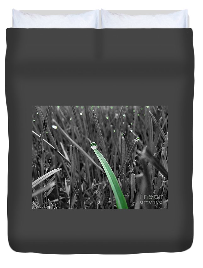 Macro Duvet Cover featuring the photograph Morning Dew by September Stone