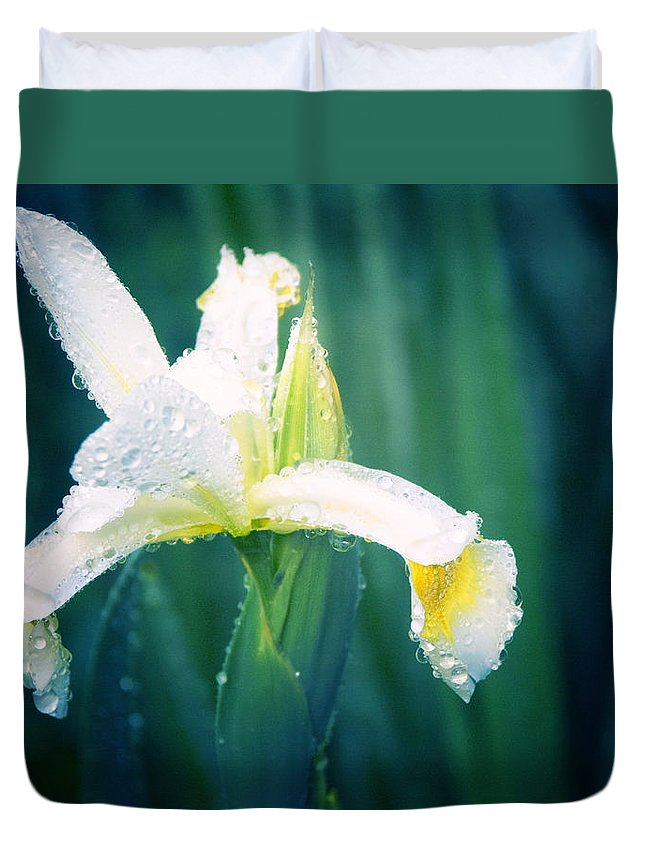 Iris Duvet Cover featuring the photograph Morning Dew by Jackie Farnsworth
