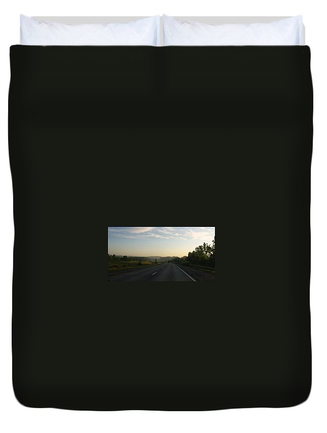 Landscape Duvet Cover featuring the photograph Morning Drive by Rhonda Barrett