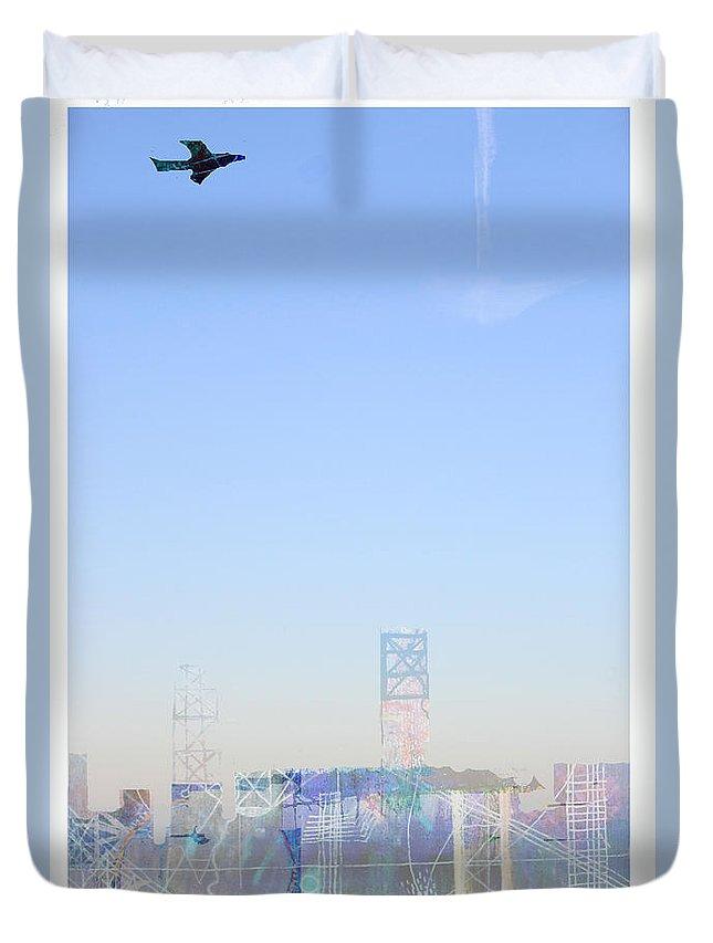 Blue Sky Plane Fly Flight Urban Flying Takeoff Bird Duvet Cover featuring the digital art Morning Flight by Andy Mercer