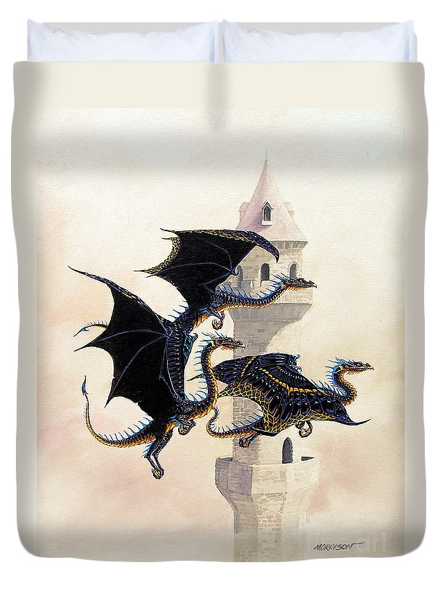 Dragon Duvet Cover featuring the painting Morning Flight by Stanley Morrison
