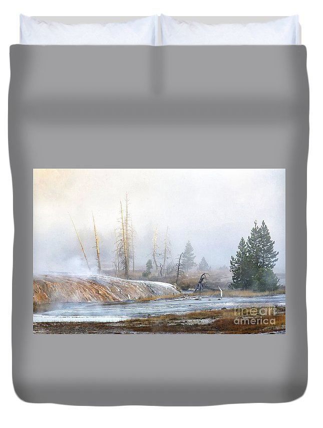 Yellowstone Duvet Cover featuring the photograph Morning Fog At Black Sand Basin by Carolyn Fox