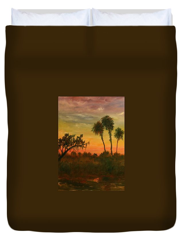 Palm Trees; Tropical; Marsh; Sunrise Duvet Cover featuring the painting Morning Fog by Ben Kiger