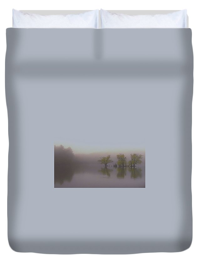 Horn Pond Duvet Cover featuring the photograph Morning Fog by Jeff Heimlich