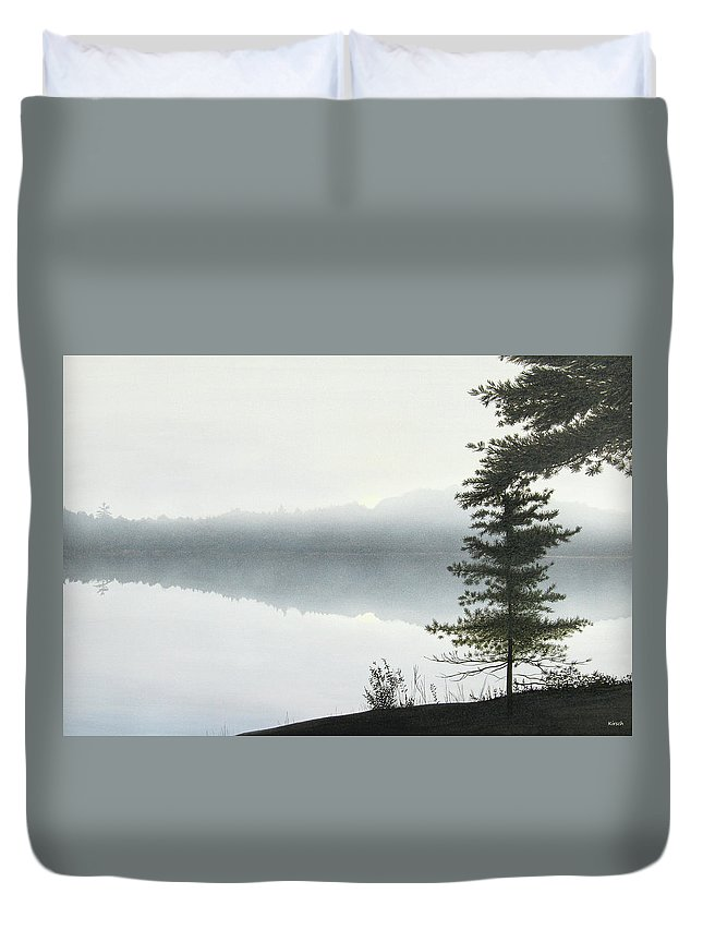 Landscapes Duvet Cover featuring the painting Morning Fog by Kenneth M Kirsch