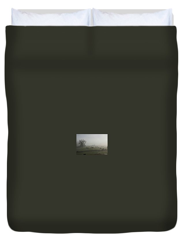 Animals In The Morning Fog Duvet Cover featuring the photograph Morning Fog by Lisa Jolly
