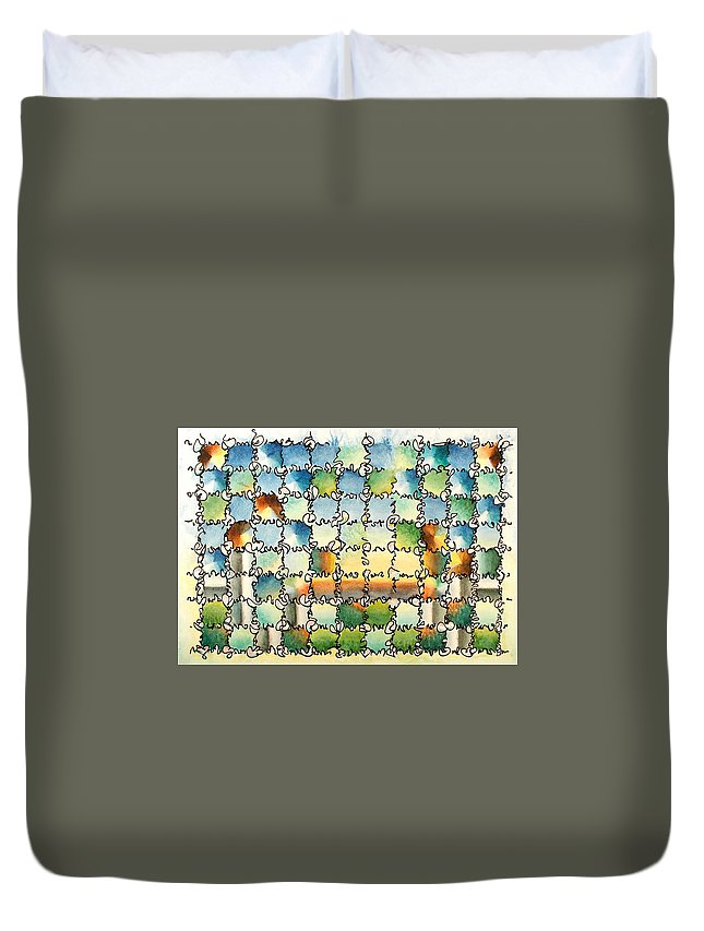 Watercolor Duvet Cover featuring the painting Morning Gateway by Dave Martsolf