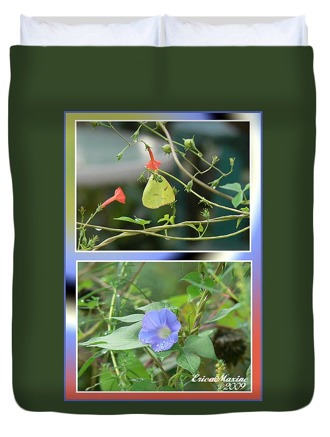 Flower Duvet Cover featuring the photograph Morning Glories And Butterfly by Ericamaxine Price