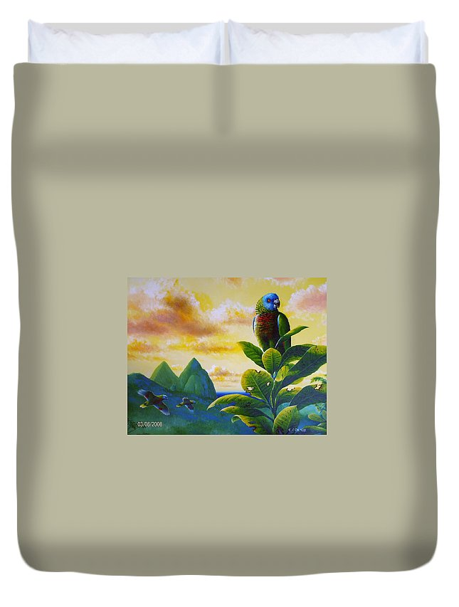 Chris Cox Duvet Cover featuring the painting Morning Glory - St. Lucia Parrots by Christopher Cox