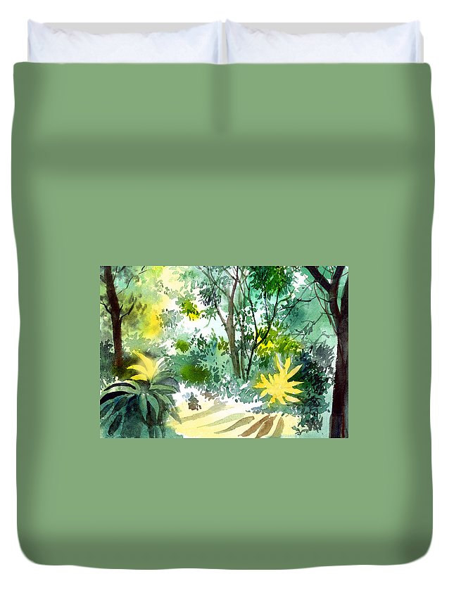 Landscape Duvet Cover featuring the painting Morning Glory by Anil Nene